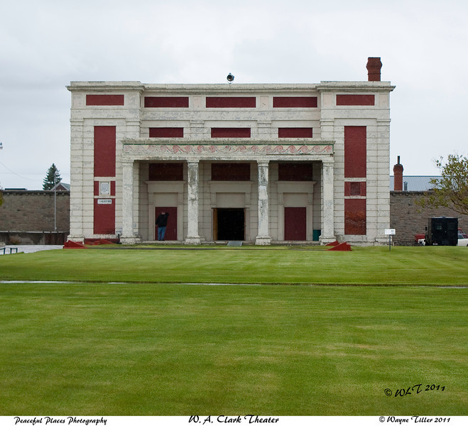W A Clark Theater<br /> The first of its kind in the United States. It was funded by W.A. Clark of Butte, MT and built by prison labor. It held plays, prizefights, movies and more. <br /> It was finished in 1920 and served untill 1975 when it was gutted by fire. It had seating for 1000 people, both inmates and the general public.