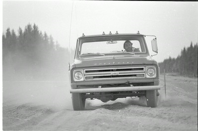 Barry Paris and his Chevrolet 1/2 ton on new Co. Rd. 553 now M-553