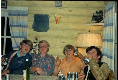 Douglas Chandler, ?,    Ronny Paris, Brian Hutchens out at Frank Farquar's camp