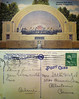 """A view of the Memorial Band Shell in the park in Reading. The postcard is dated Sept. 29, 1946 and reads, """"Dear Stella, Doing fine. Wish you were with me."""" Signed Arlene."""
