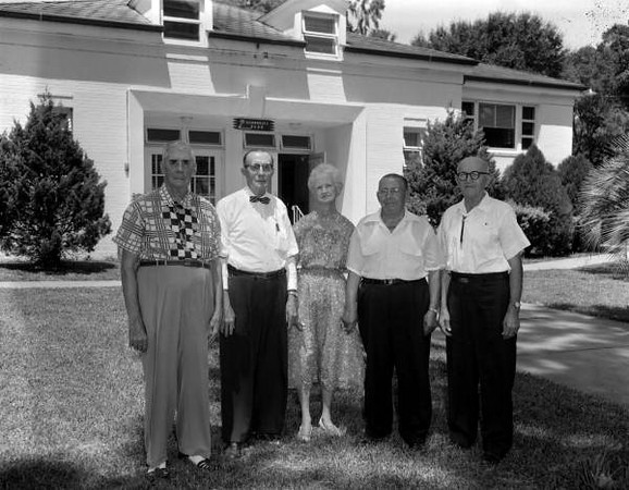"RF00706 - Residents of Moosehaven retirement community on July 2, 1961. Moosehaven, ""City of Contentment,"" was a retirement community created and operated by the Loyal Order of Moose, a fraternal society created in 1888 in Indiana. It was located at 1700 River Road in Orange Park. In 1922, the order purchased 22 acres to create an elderly home for its retired members (many of which were living at Mooseheart Children?s Home in Chicago). That fall, its first 20 residents arrived. It later was expanded to 63 acres and over 400 residents."