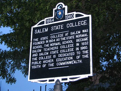 "Salem State College, Lafayette St, Salem. I don't think this is a ""genuine"" Tercentenary sign but they must have liked the design so much they used it for their historic marker."
