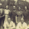 """7. Bessie, standing next to her father, was married about 1912 to William J. """"Will' Williams. They had several children before her death in 1982 in Richlands, VA.<br /> <br /> Next is Robert, in the back, middle. Robert married Ella Worley in 1919 and also had several children. He died in 1974 and is buried in Scott County, VA.<br /> <br /> America was married to Charles Walter Fletcher about 1919. They had several children, too. America died in 1996 and is buried in Tazewell, VA.<br /> <br /> Beulah is at the right, in back. In the late 1930s she married Debow T. Johnson. They also had several children. She died in 1998 and is buried in Tazewell, VA.<br /> <br /> In front left is Columbus Powers. In 1928 he married Nigel Caroline Davis. They had several children, including Pam's mother Jannis, prior to his death at the Amonate Coal Mine in July 1947. He is buried at Mt Pleasant Baptist Church Ervinton, VA.<br /> <br /> Lemuel, at lower right, married Velma Myers in 1936 and Mable Davis in 1950.  He is buried in North Tazewell, VA.<br /> <br /> After Isaac's first wife's death, he married Vada Hall in 1938."""