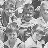 15. On the steps of Main Street elementary school about 1954. From top left, Sandra Brasfield, ___, David Scates and David Mathis. From bottom left, David Lessenberry , ___, Kathy Bankston, and Hal Fisher.