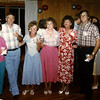 12. Back at the 1985 reunion, from left, Doug Parkey with Sylvia Pyron, Ted and Cathey, Pam Pyron, Sandra Luckey Lowery and James Raines. Ken Galey at right with Leroy Espey and Danny Harris.