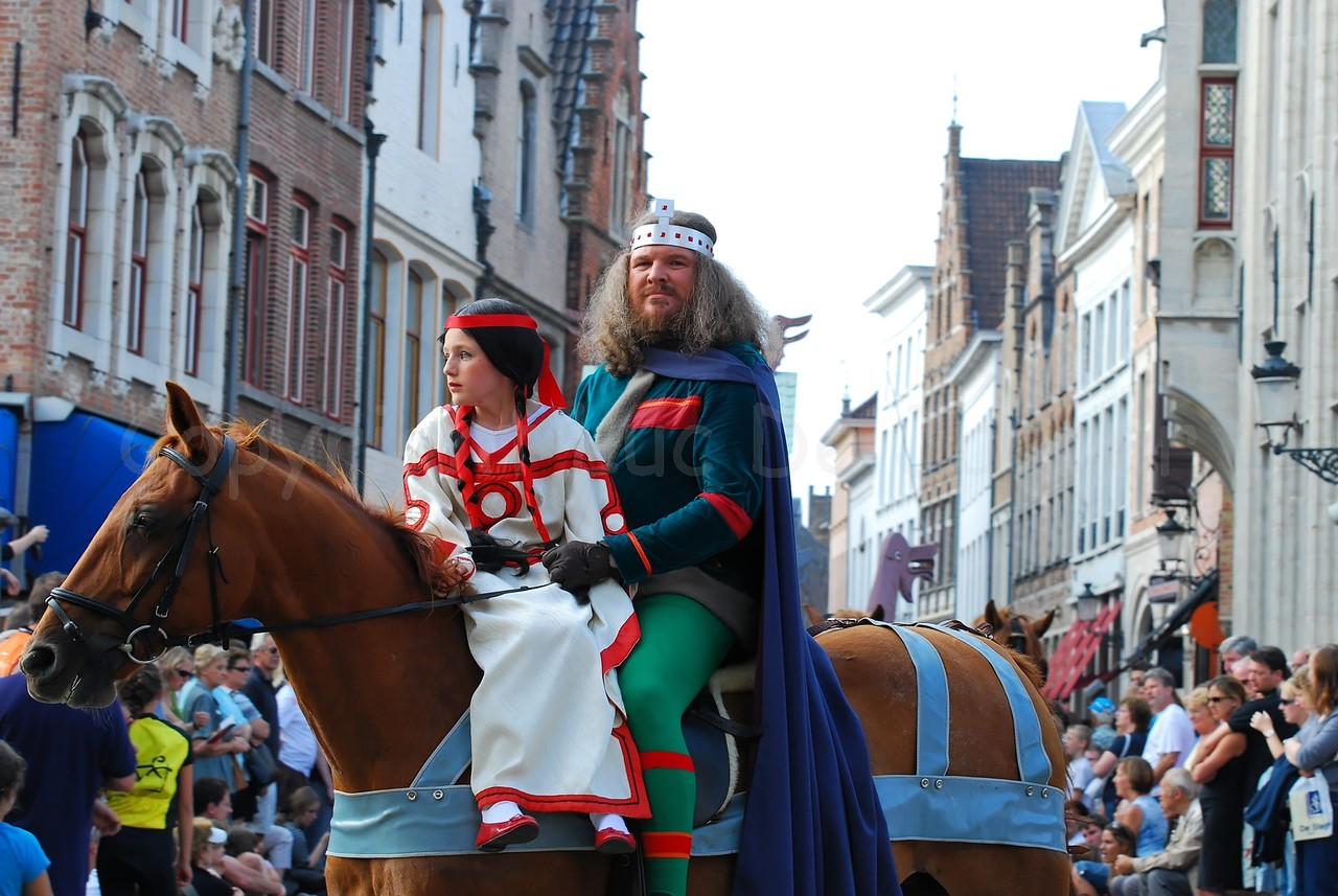 The Pageant of the Golden Tree (Praalstoet van de Gouden Boom) takes place only every five years in Bruges (Brugge), Belgium. The elopement of Judith, daughter of Charles the Bald, by Boudewijn I Graaf van Vlaanderen (Baldwin I Count of Flanders, also known as Baldwin Iron Arm).