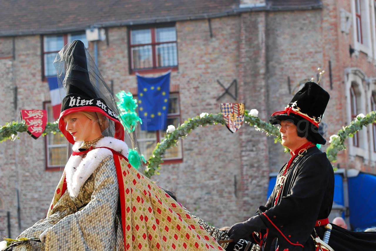 The Pageant of the Golden Tree (Praalstoet van de Gouden Boom) takes place only every five years in Bruges (Brugge), Belgium. Charles the Bold, Duke of Burgundy and Count of Flanders (Karel de Stoute, Bourgondische Hertog en Graaf van Vlaanderen) and the English princess Margareth of York.