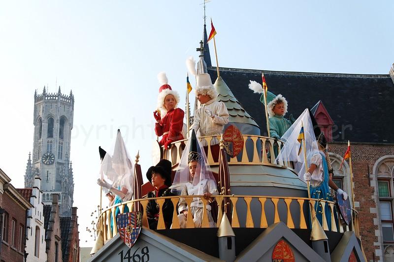 The Pageant of the Golden Tree (Praalstoet van de Gouden Boom) takes place only every five years in Bruges (Brugge), Belgium. The marriage of Charles the Bold, Duke of Burgundy and Count of Flanders (Karel de Stoute, Bourgondische Hertog en Graaf van Vlaanderen) to the English princess Margareth of York.