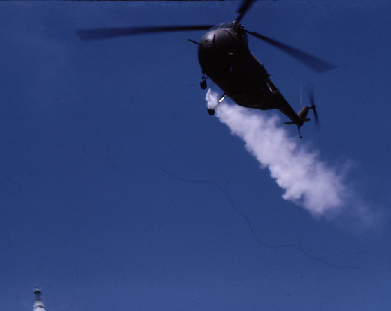 3*Tue, May 20, 1969<br /> *People: <br /> Subject: helicopter spraying gas<br /> *Place: coming from east, to Sather Gate<br /> Activity: ppp<br /> Comments: