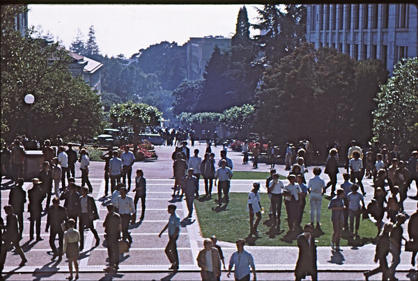 4*Thu, May 15, 1969<br /> *People: cops shotgunning library (on right)  Several windows broken. No  injuries.<br /> Subject: <br /> *Place: center of campus<br /> Activity: ppp<br /> Comments: everyone out of library.  Dazed.