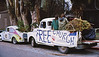 4*Sun, Jan 18, 1970<br /> *People: <br /> Subject: dead tree, Free Church truck<br /> *Place: People's Park<br /> Activity: Earth Rebirth<br /> Comments: VW also has a tree, dead or alive?