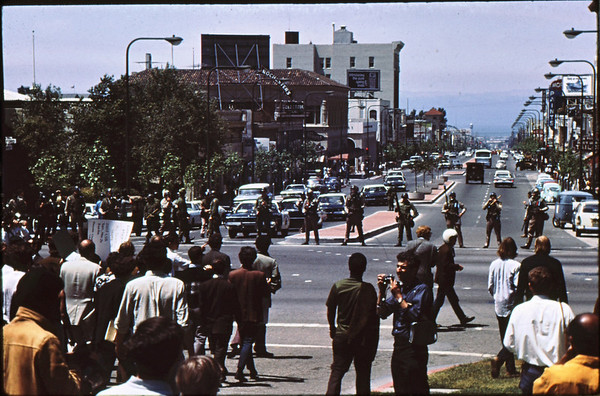 3*Tue, May 20, 1969<br /> *People: cops in line <br /> Subject: <br /> *Place: Univ Ave at Oxford, Berkeley<br /> Activity: ppp<br /> Comments: news person with motorcycle helmet