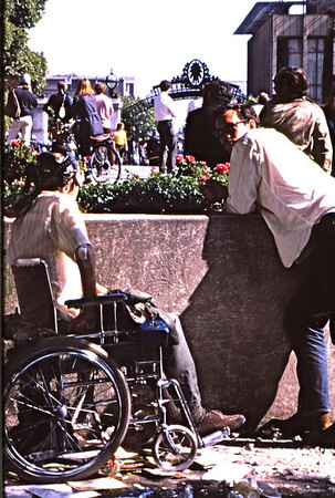 4*Thu, May 15, 1969<br /> *People: students, wheelchair<br /> Subject: watching<br /> *Place: near Sather Gate<br /> Activity: ppp<br /> Comments: