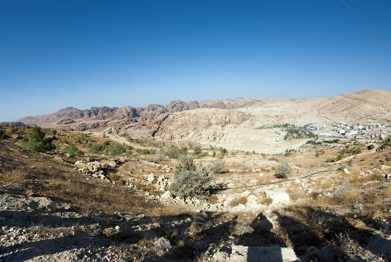 The modern town of Petra, not far from the entrance to the gorge (slightly left of centre), can be seen in the distance at the right hand edge of the picture.