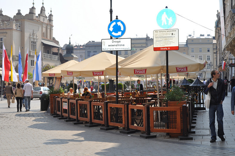 A different cafe, a different beer advertisement (Tyskie - Polish Beer).