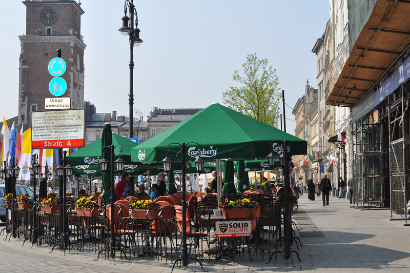 Too early for a Carlsberg, but the outdoor cafes and restaurants overlooking market square are very pleasant
