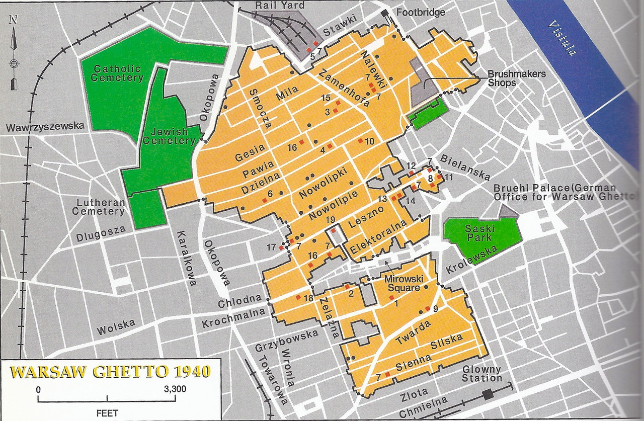 A map of the Jewish Ghetto in Warsaw. <br /> <br /> Click to enlarge.<br /> <br /> You can see Sienna street at the bottom, and Twarda cuts across.