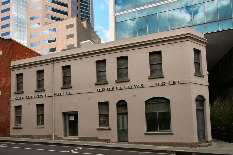 Another one of the historic ornaments on the Casselden Place precinct. Oddfellows Hotel, 1849.<br /> <br /> 33 Little Lonsdale Street, Melbourne.