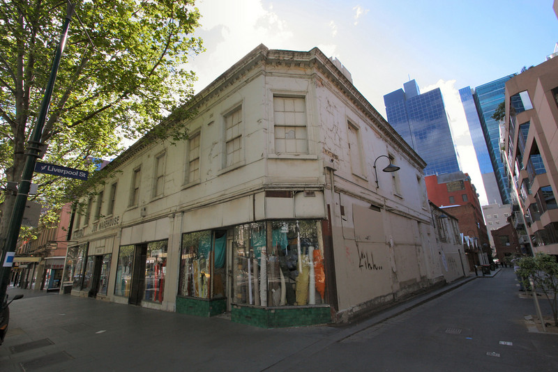 The Jobs Warehouse is a Melbourne institution. The owner for many years was apparently a successful immigrant... although it's hard to know how, since the stories of him chasing prospective customers from the store are legion. Anyway: the building is a lot older than the former owner, who died in 2005. The building was constructed in 1848-9.<br /> <br /> <br /> 58-60 Bourke Street, Melbourne.