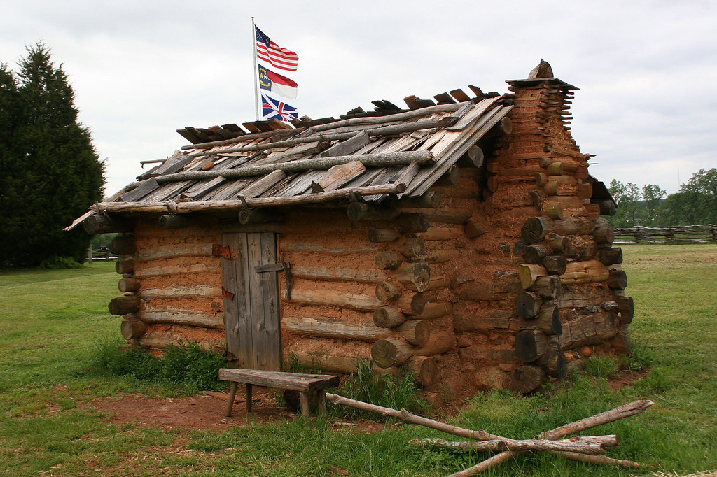 Fort Dobbs was constructed in 1756.  While construction was ongoing, soldiers lived in temporary log huts like this one...