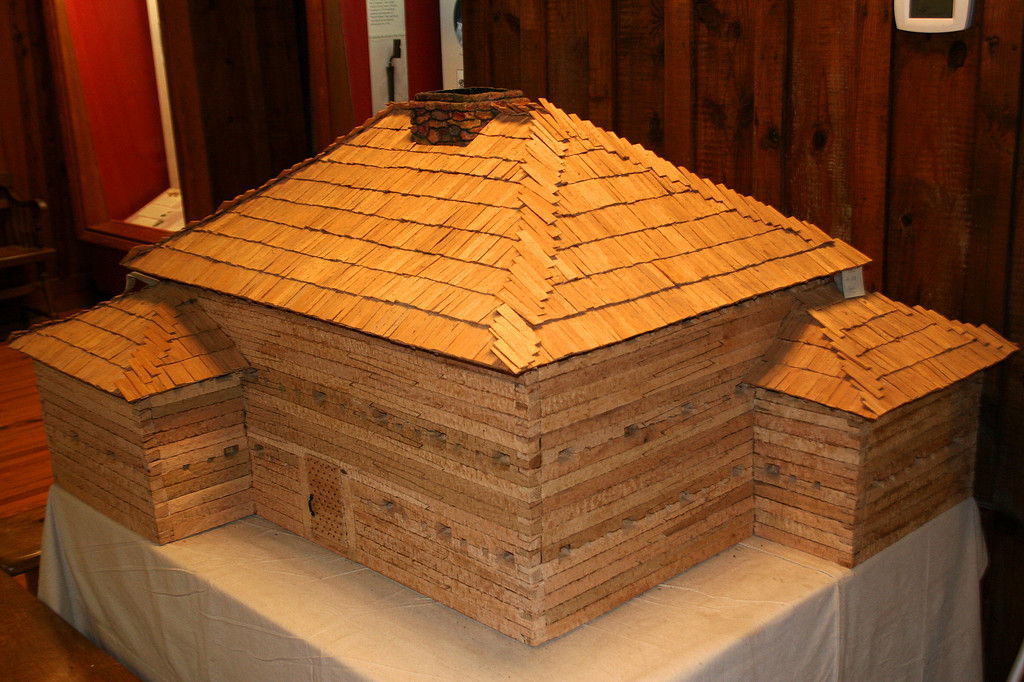 """This scale replica of Fort Dobbs is located inside the visitor center.  The fort was three stories high with oak walls 16"""" thick and housed anywhere from 30-100 men (typically around 50)..."""