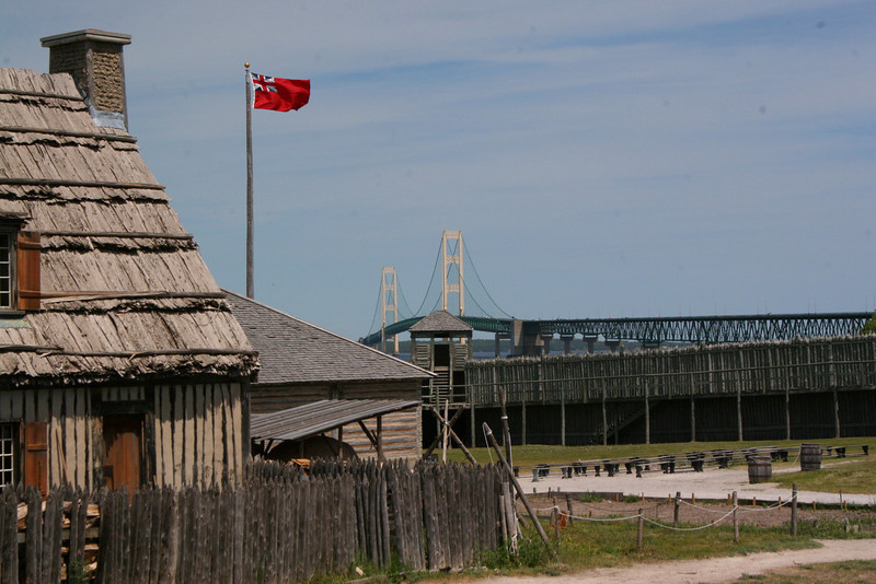 The bridge rises in the distance in this view from the southwest corner of the fort...