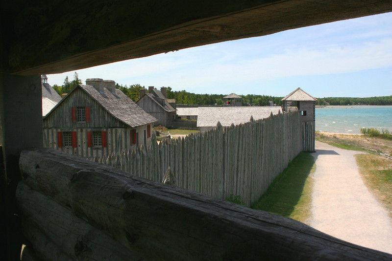 Looking west from the northeast corner of the fort.  The Water Gate is straight ahead with the Commanding Officer's House to the left...