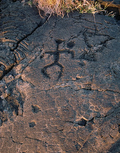 Anthropmorphic figure petroglyph. Big Island, Hawaii