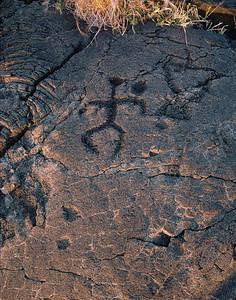 Anthropmorphic figure petroglyph. Big Island, Hawaii