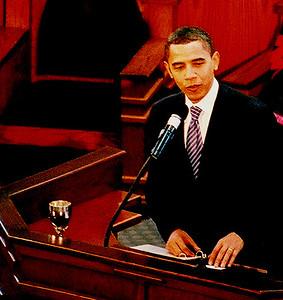 President Barack Obama addressing The Historic Ebenezer Baptist Church Congregation.