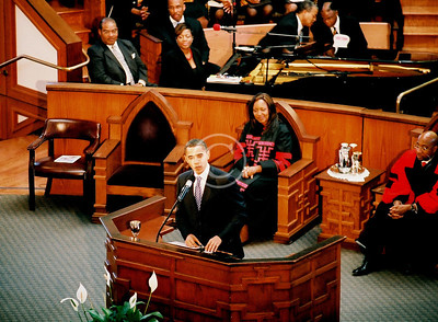 President Barack Obama addressing The Historic Ebenezer Baptist Church Congregation.