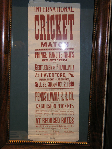 Poster advertising the rematch. Two innings over three days at Merion Cricket Club. 19,000 paid to watch.