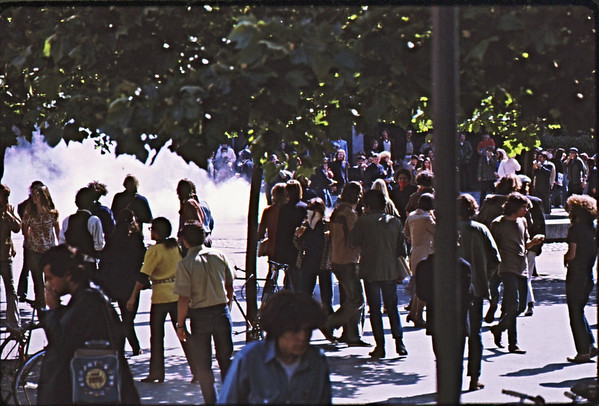 4*Wed, Apr 15, 1970<br /> *People: many students<br /> Subject: huge tear gas cloud<br /> *Place: Sproul Plaza<br /> Activity: <br /> Comments: