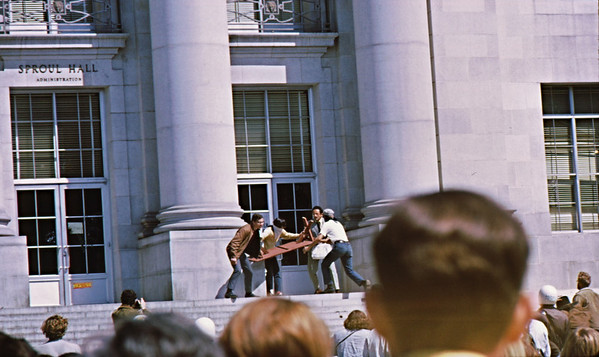 4*Wed, Apr 15, 1970<br /> *People: 2 protesters, 2 administration<br /> Subject: bench<br /> *Place: Sproul Hall<br /> Activity: <br /> Comments: