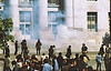 4*Wed, Apr 15, 1970<br /> *People: reporters, protesters<br /> Subject: gas cloud<br /> *Place: Sproul Hall<br /> Activity: <br /> Comments: