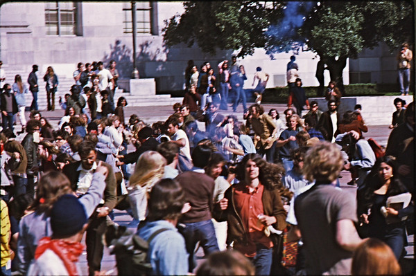 4*Wed, Apr 15, 1970<br /> *People: crowd running<br /> Subject: tear gas coming in!<br /> *Place: Sproul Plaza<br /> Activity: <br /> Comments: