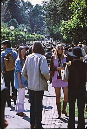 3*Wed, Apr 15, 1970<br /> *People: hundreds<br /> Subject: march<br /> *Place: campus<br /> Activity: ROTC protest<br /> Comments: a few weeks later, May 4, 1970, 4 killed at Kent State by National Guard. Protesting the invasion of Cambodia announced by Nixon on Friday.