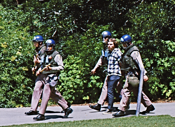 4*Wed, Apr 15, 1970<br /> *People: 4 cops, 1 arrested<br /> Subject: <br /> *Place: UCB campus<br /> Activity: <br /> Comments: