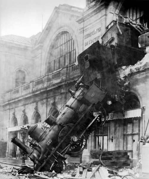 Train Wreck at Montparnasse in 1895 - Building is Now The D'Orsay Museum Paris