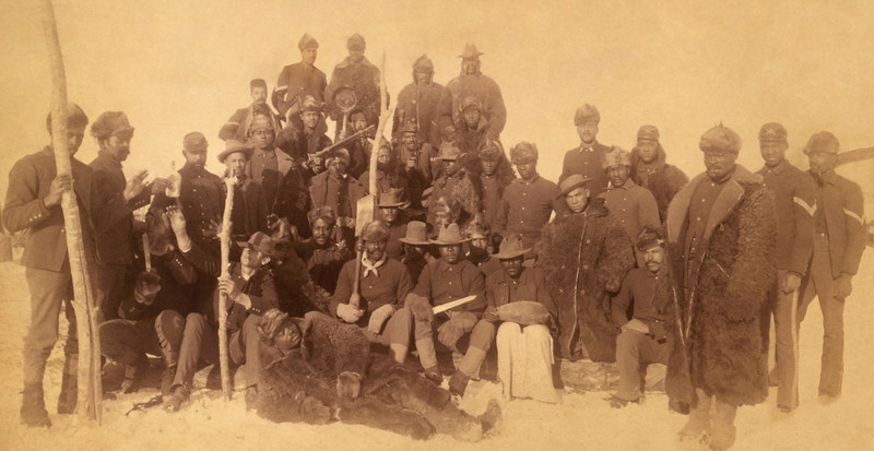 black; african american; buffalo; soldiers; infantry; some; wearing; robes; keogh; montana