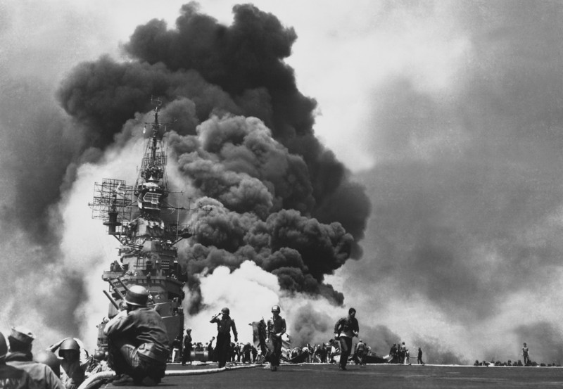 USS BUNKER HILL hit by two Kamikazes in 30 seconds on 11 May 1945 off Kyushu.  Dead - 372.  Wounded - 264.  (Navy)<br /> NARA FILE #:  080-G-323712<br /> WAR & CONFLICT BOOK #:  980
