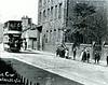 Tram on Burnley Road gates of St James, Rawtenstall