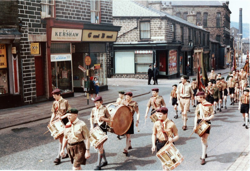 Rawtenstall St Mary's Scouts c1963  John Dickenson left of flag   Stephen Heap 3rd from left
