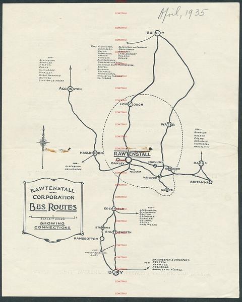 Rawtenstall Bus routes 1935