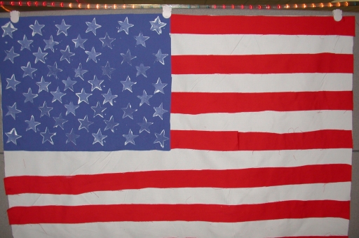Dia Johnson's home made flag, in honor of those lost during the attaches of 9/11/2001.