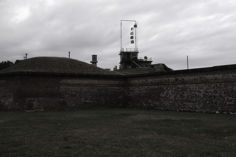 As you enter the fort the World War 2 era observation tower looms above the old brick walls...