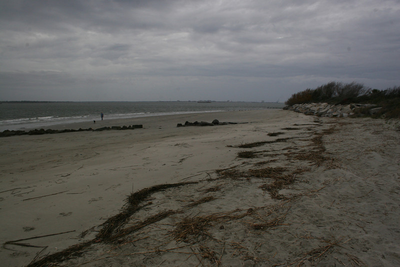 We took a few minutes to explore the beach, though darkening clouds meant we couldn't stay long.  The famous 'Palmetto Log Fort' of the Revolutionary War stood directly along the shore near here.  No trace of this fort remains today...