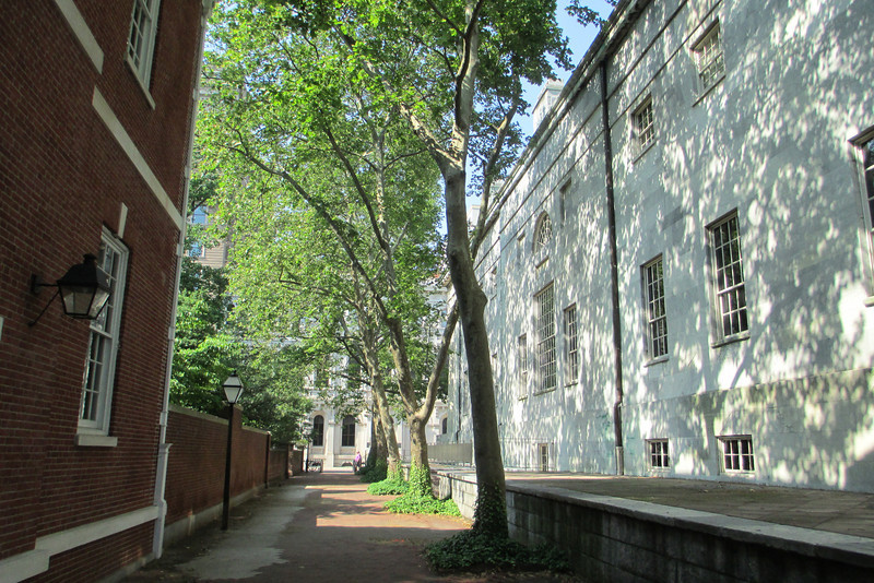 Making our way back towards the Independence Hall area we passed through one of the parks many narrow 'streets' between the Second Bank of the U.S and the American Philosophical Society Library...
