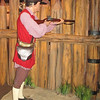 Another mannequin set up along the wall inside the museum portrays one of the advantages of such a rough cut palisade as what made Fort Watauga...it provided almost unlimited options for firing angles from within the fort...