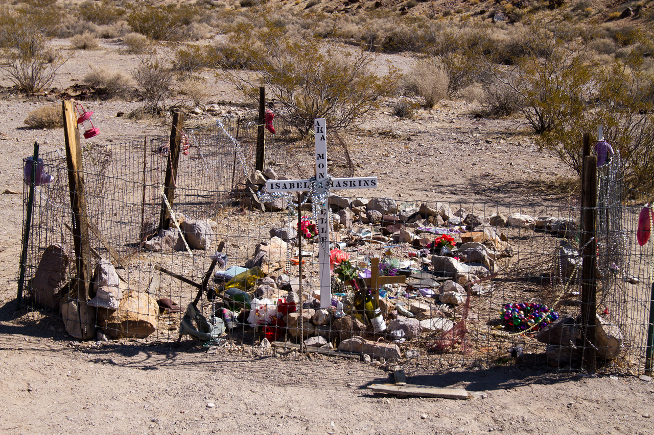 Ghost town of Rhyolite, Nevada<br /> <br /> grave of local Madam of red light district